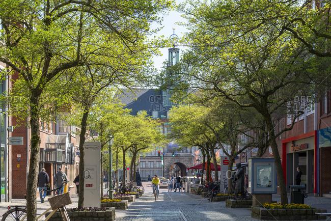 April 23, 2019: Germany, Lower Saxony, East Frisia, Emden, the Grosse Strasse (pedestrian zone).