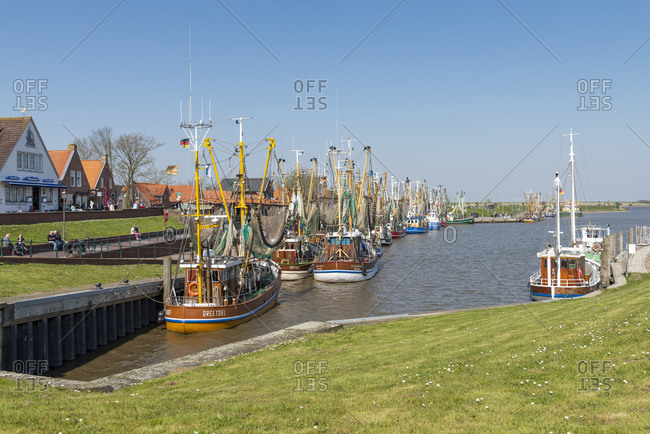 April 18, 2019: Germany, Lower Saxony, East Frisia, Greetsiel, impressions in the harbor.