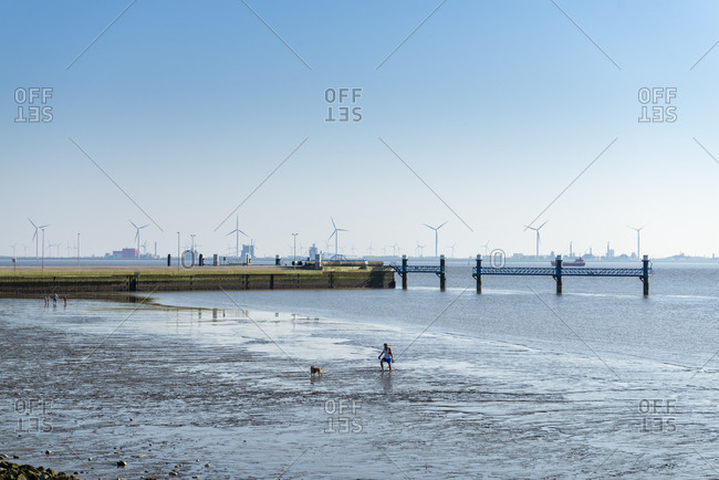 April 21, 2019: Germany, Lower Saxony, East Frisia, beach at low tide on the Emder Knock.