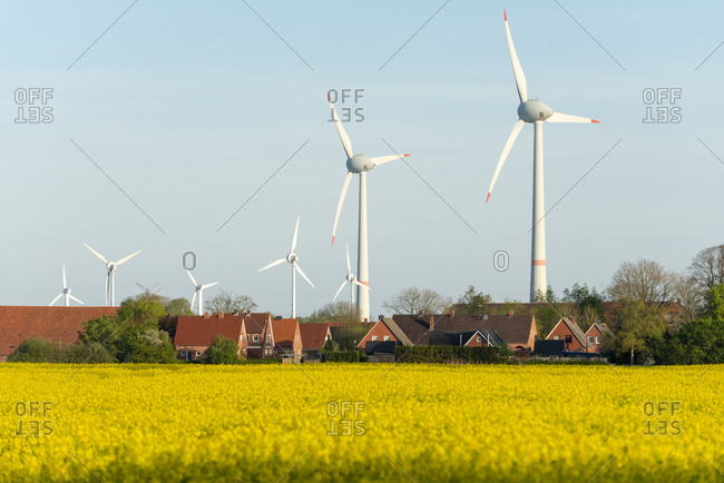 Germany, Lower Saxony, East Frisia wind turbines near Emden.