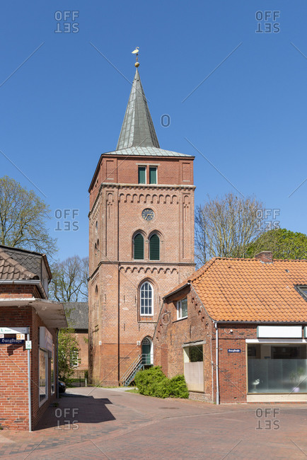 April 22, 2019: Germany, Lower Saxony, East Frisia, Pewsum, bell tower of the Nicolai Church