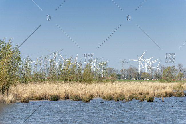 Germany, East Frisia wind turbines near Emden.