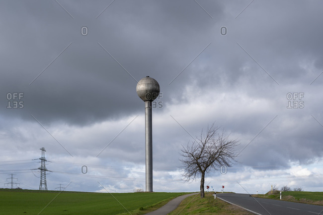 Germany, Saxony-Anhalt, Welsleben, futuristic water tower, water storage