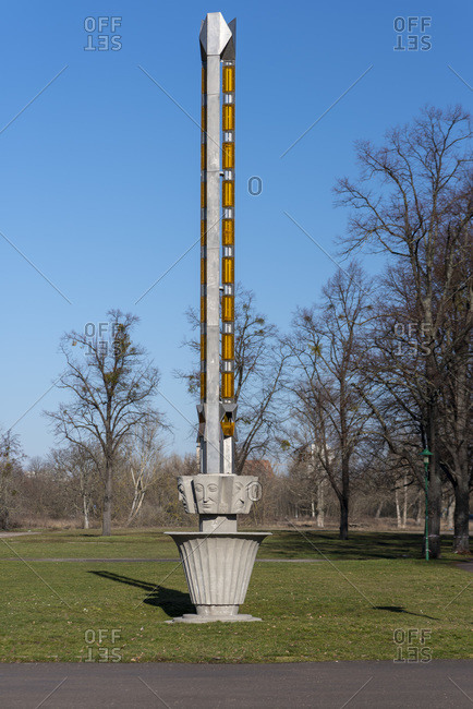 February 8, 2020: Germany, Saxony-Anhalt, Magdeburg, Lichtstele, built in 1927 on the occasion of the theater exhibition.