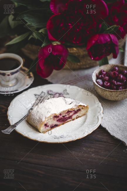 Sour cherries strudel dusted with powdered sugar