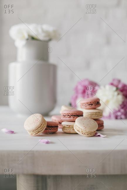 Hand made macarons on a modern light background