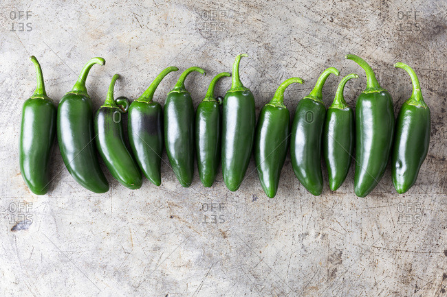 Row of Jalapeno chilli peppers