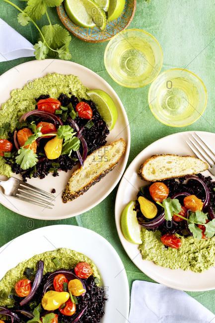 Roasted Poblano Black Rice with Roasted Cherry Tomatoes and Cilantro Pesto