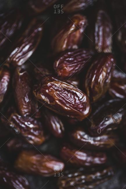 Close-up of dried dates studio shot