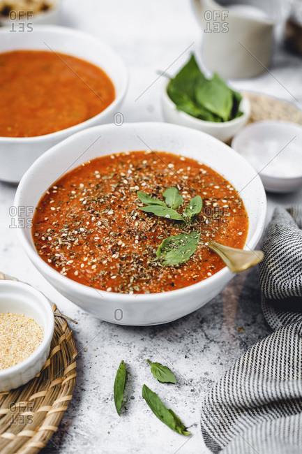 Tomato Basil Soup studio shot