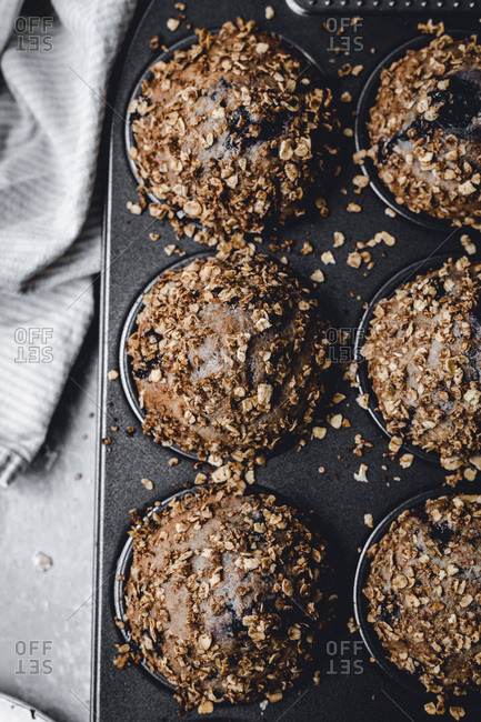 Blueberry Oat Muffins studio shot
