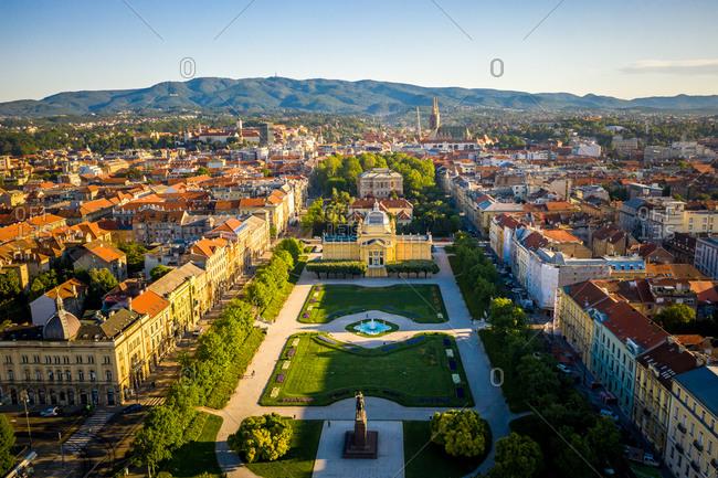 May 7, 2020: Aerial view of Umjetnicki paviljon u Zagrebu empty due to coronavirus pandemic in Zagreb, Croatia