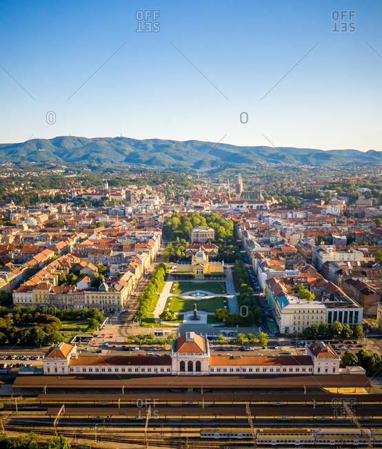 Aerial view of Umjetnicki paviljon u Zagrebu empty due to coronavirus pandemic in Zagreb, Croatia
