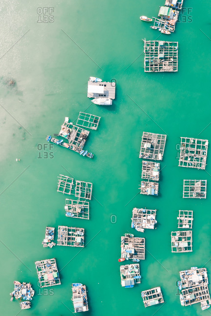 Aerial View of the Fishing Village in Lamma Island during the day, Hong Kong, China