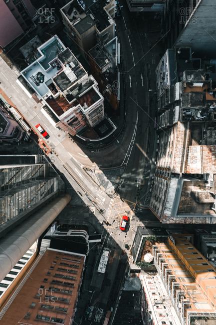 April 13, 2020: Aerial View of Soho District in the morning with Hong Kong Taxi, China