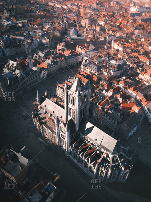 Aerial view of one of the most iconic monuments  in Ghent, St. Niklaas Church