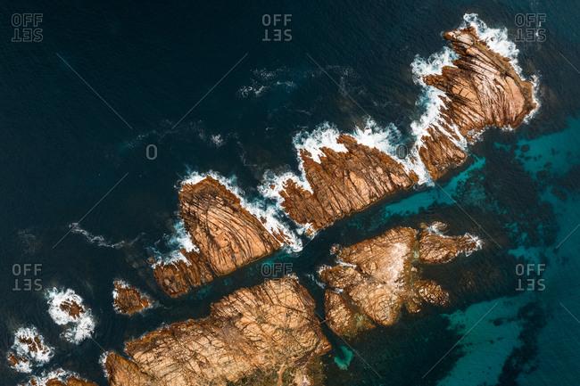 Aerial view of Canal Rocks, Western Australia, Australia.