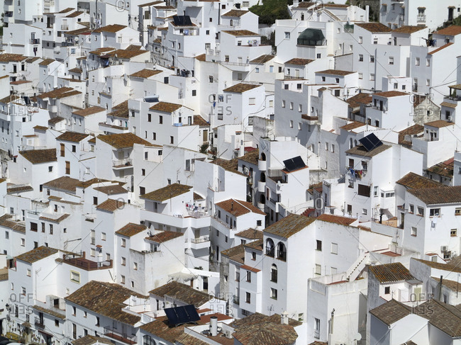 Cityscape of white buildings, Casares, Andalusia, Spain