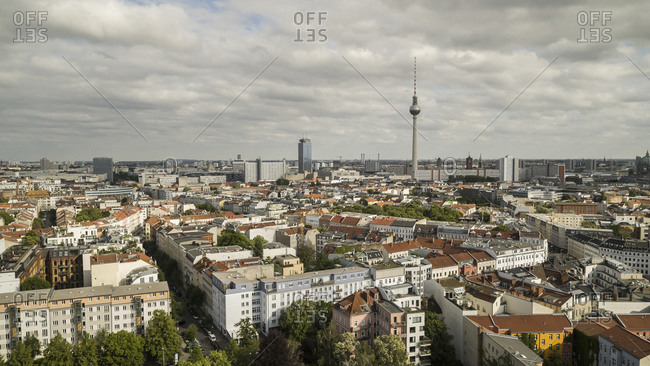 Sunny, scenic view Berlin cityscape and Television Tower, Germany