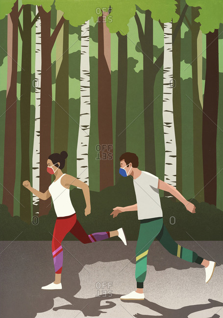 Couple with protective face masks jogging in sunny park