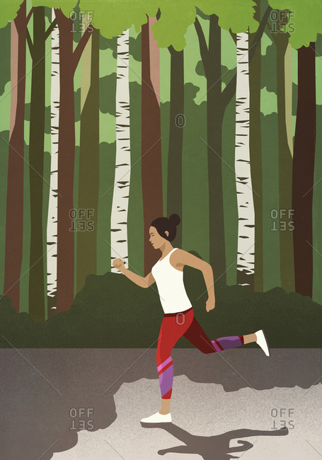 Woman jogging in sunny park
