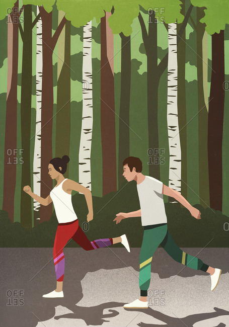 Couple jogging in sunny park