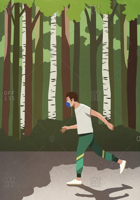 Man with protective face mask jogging in sunny park