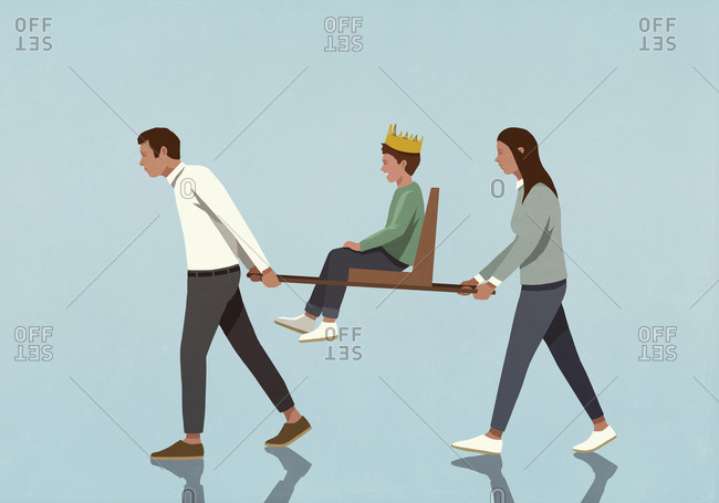 Parents carrying son with crown in chair