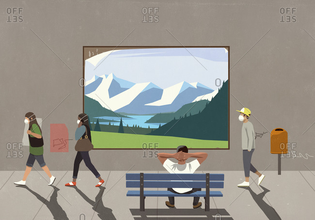 People in protective masks passing man on bench watching landscape billboard
