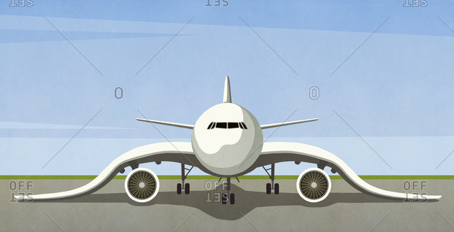 Illustration of airplane with drooping wings