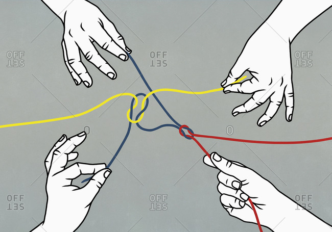 Illustration of hands pulling tangled strings