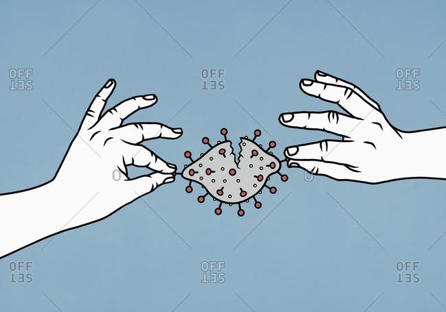 Illustration of hands dismantling coronavirus pathogen
