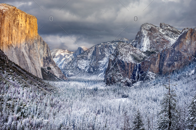 Yosemite Valley view in winter after a snow storm at sunset