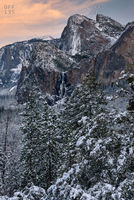 Bridalveil Falls and Cathedral Spires elevated view in a winter morning, Yosemite National Park