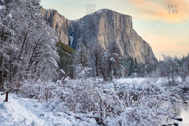 View of El Capitan from the valley right after a snow storm, Yosemite National Park