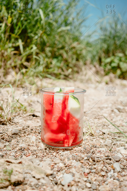 Watermelon in a glass dish on rocky ground