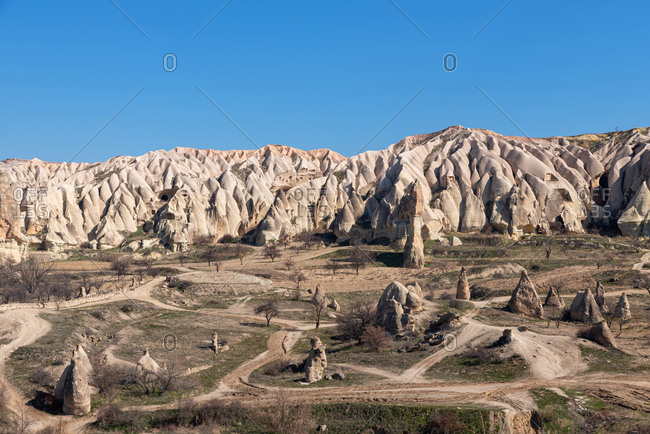 Beautiful landscape of ancient geological formation in Cappadocia valley, Turkey