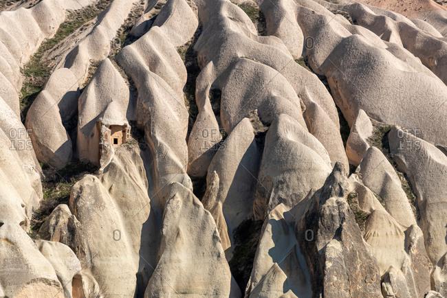 Love valley in Cappadocia closeup of rock formations background