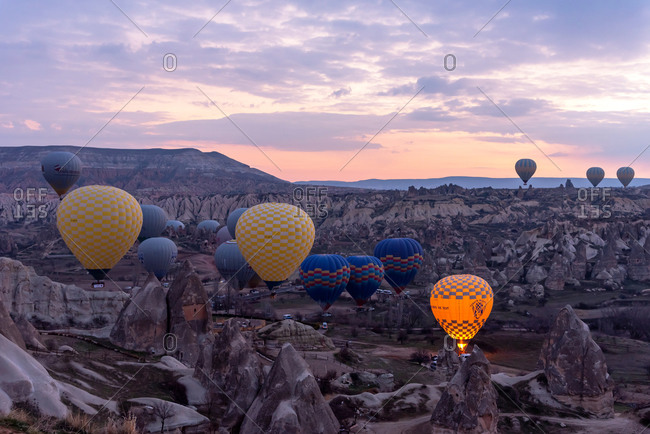 February 24, 2018: Balloons flight over Cappadocia valley. Goreme, Cappadocia, Turkey