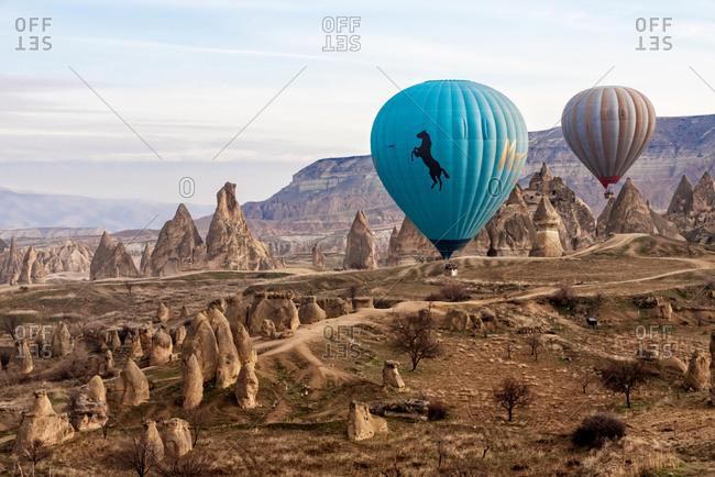 February 26, 2018: Balloons flight over Cappadocia valley. Goreme, Cappadocia, Turkey