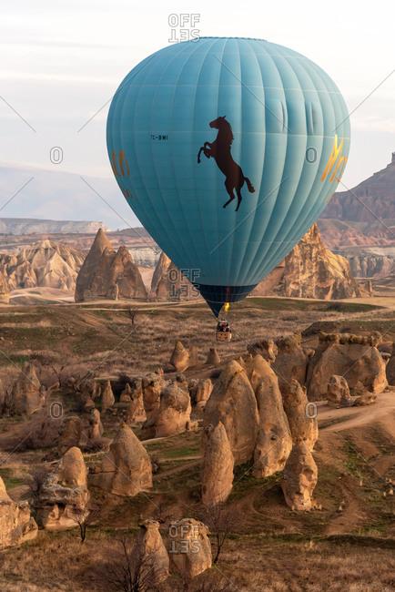 February 26, 2018: One hot air balloon flight over Cappadocia valley. Goreme, Cappadocia, Turkey