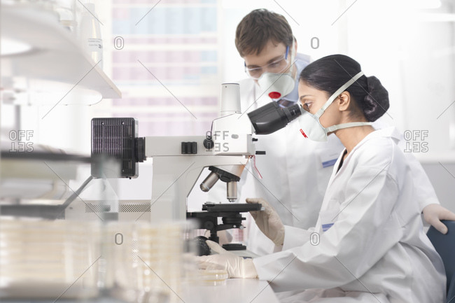 Scientists in isolation environment wearing masks, working in research laboratory, using microscope.