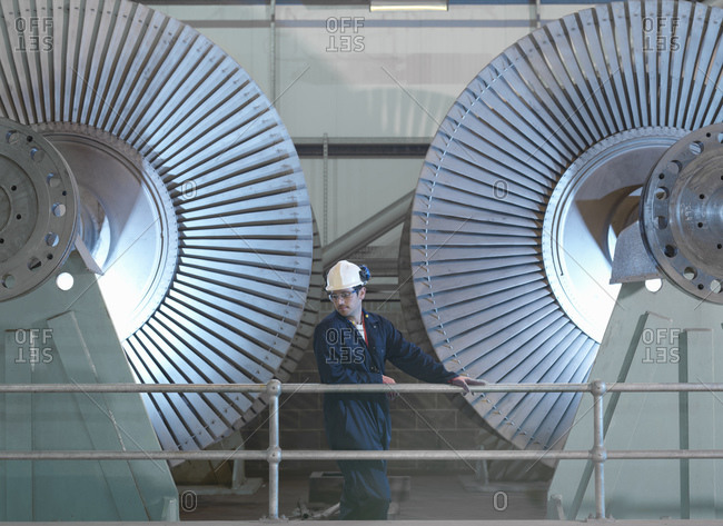 Engineer by low pressure steam turbines for electricity generation in turbine repair factory.