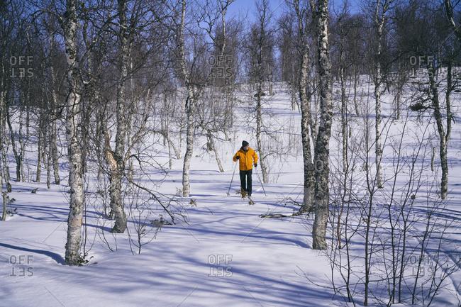 Man cross-country skiing in Vasterbottens Lan, Sweden.