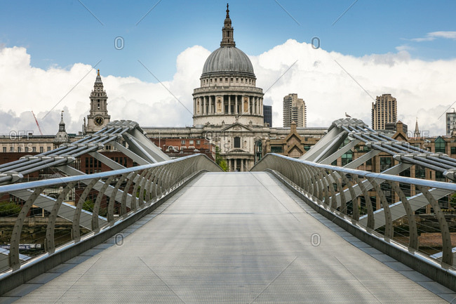 View along empty Millennium Bridge with St Paul's Cathedral in London during the Corona virus crisis.