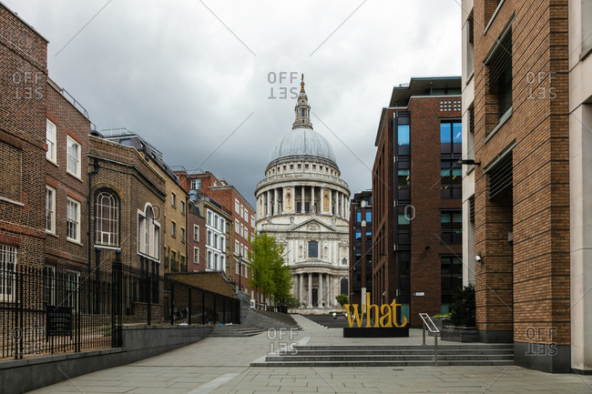 View along empty Peter's Hill street towards St Paul's Cathedral in London during the Corona virus crisis.