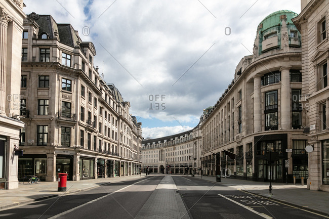 London, United Kingdom - May 1, 2020: View along an empty Regent Street in London during the Corona virus crisis.
