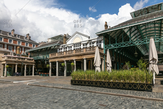 London, United Kingdom - May 1, 2020: Exterior view of empty Convent Garden, historic buildings and piazza during the Corona virus crisis.