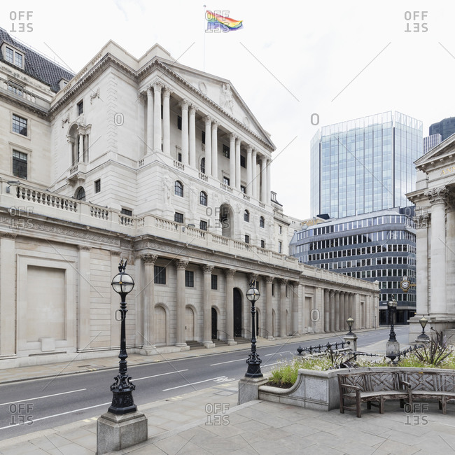 Exterior view of the Bank of England, London, UK during the Corona virus crisis.