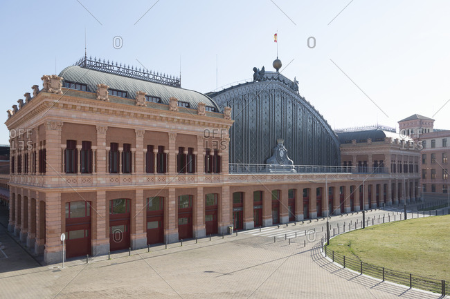 View of the empty Atocha Station, Madrid, Spain during the Corona virus crisis.